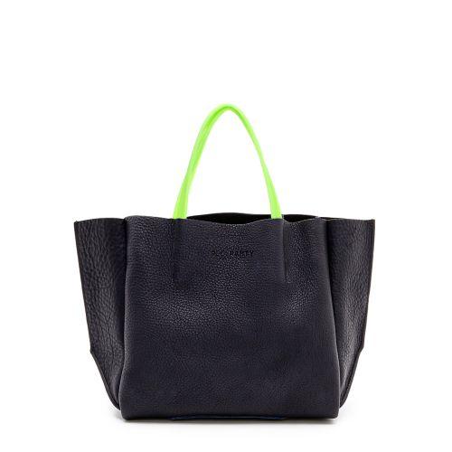 Женская кожаная сумка poolparty-limited-soho-black-green черная
